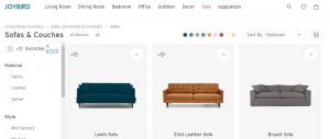 Joybird website couch product page