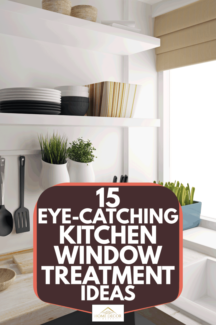 Kitchen room with utensils arranged, window with small potted plant and roman shade, 15 Eye-Catching Kitchen Window Treatment Ideas