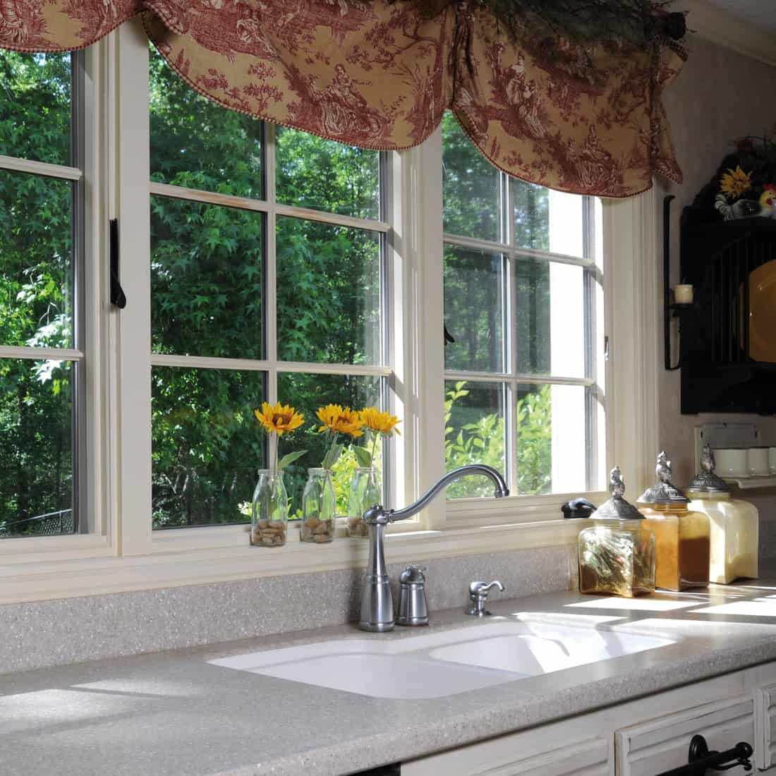 Kitchen with a country feel and classic valance curtains