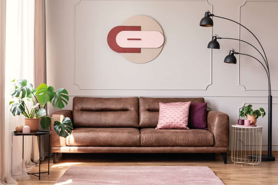 Leather couch with pillows and dusty pink carpet in white flat interior with plants and floor lamp