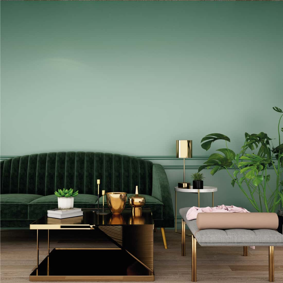 Living area with sofa, armchair, plant and cabinet on wooden floor