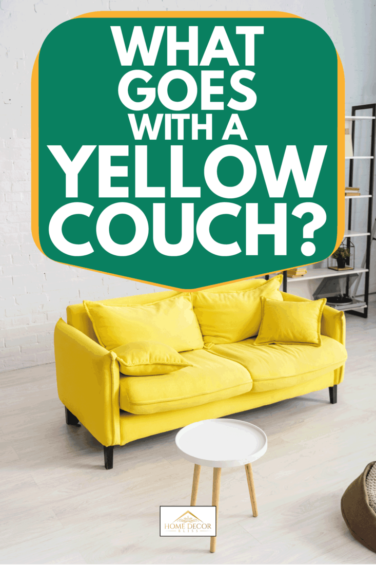 Living room with yellow couch and air conditioner on wall, What Goes With A Yellow Couch?