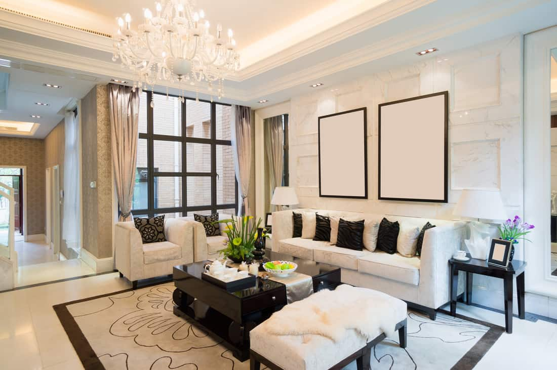 luxury living room with nice decoration and end tables