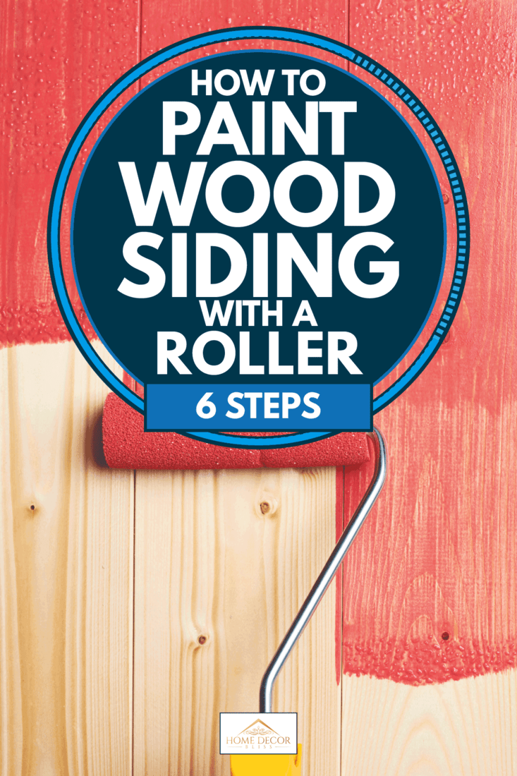 Man using a roller to paint red to a wooden wall, How To Paint Wood Siding With A Roller [6 Steps]