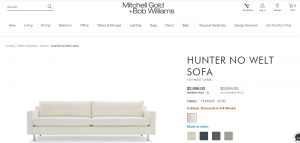 Mitchell Gold + Bob Williams website couch product page