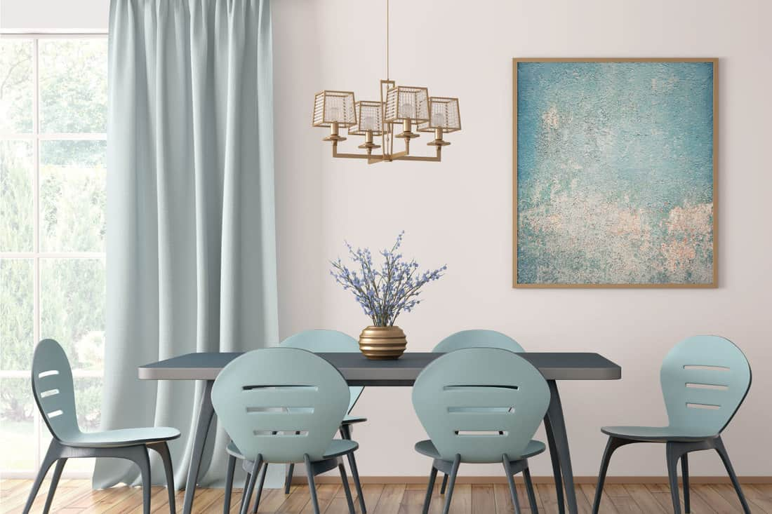 Modern dining room with blue table and chairs against white wall with big window and curtain, seafoam blue colored furnitures and accessories