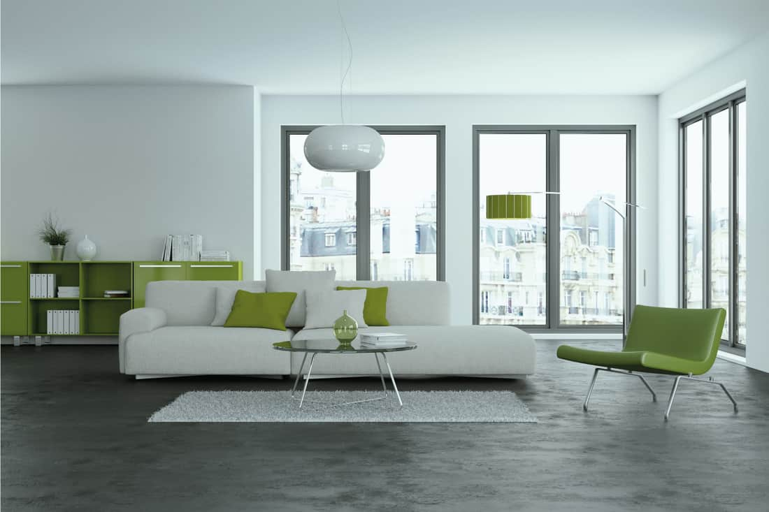 Modern living room with chartreuse throw pillows and shelf