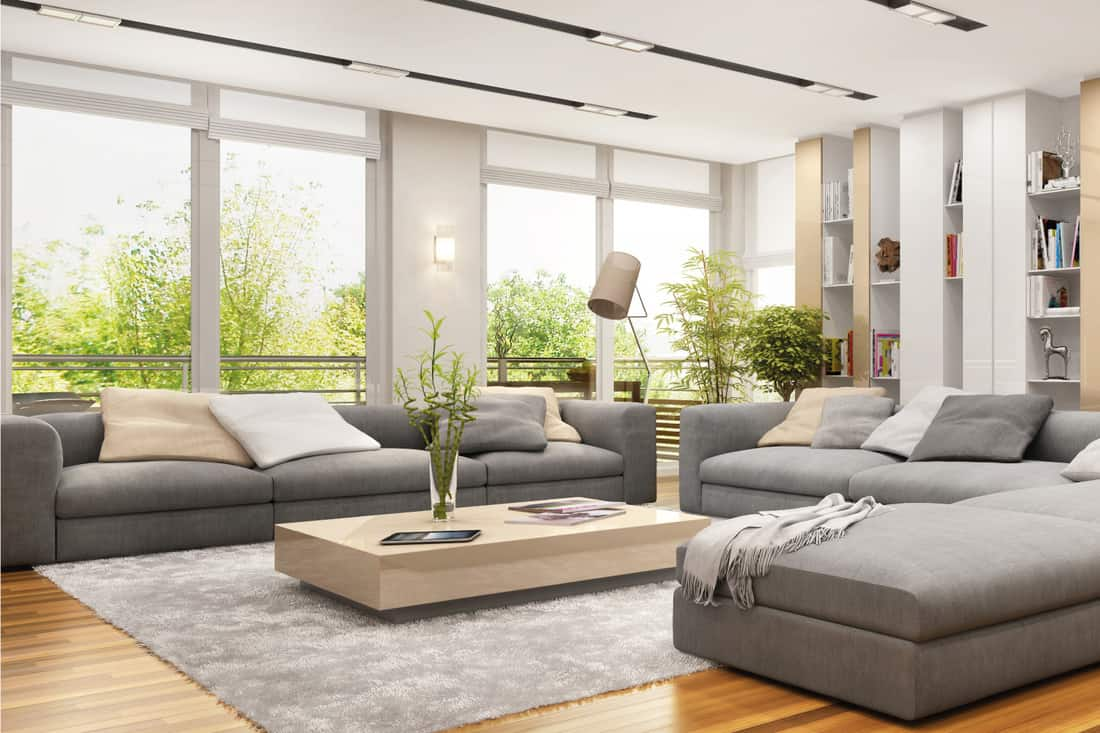 Modern living room with furniture grouped in the center
