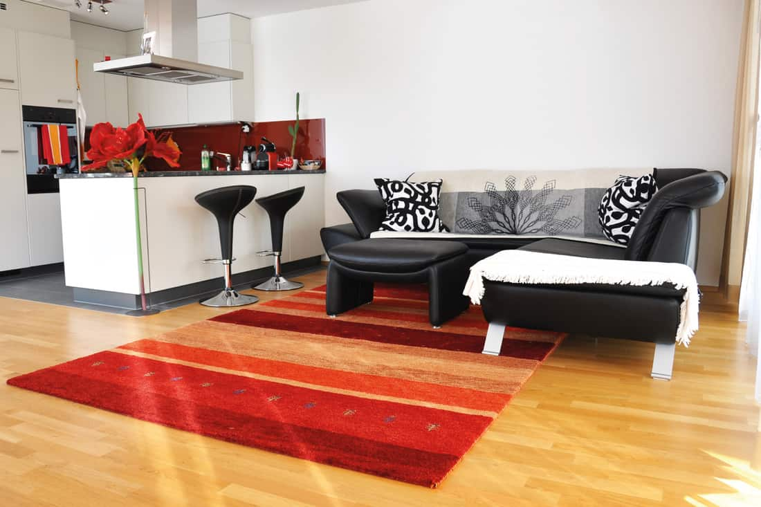 Modern living room with nearby kitchen bar and bright orange carpet with couch in the living area