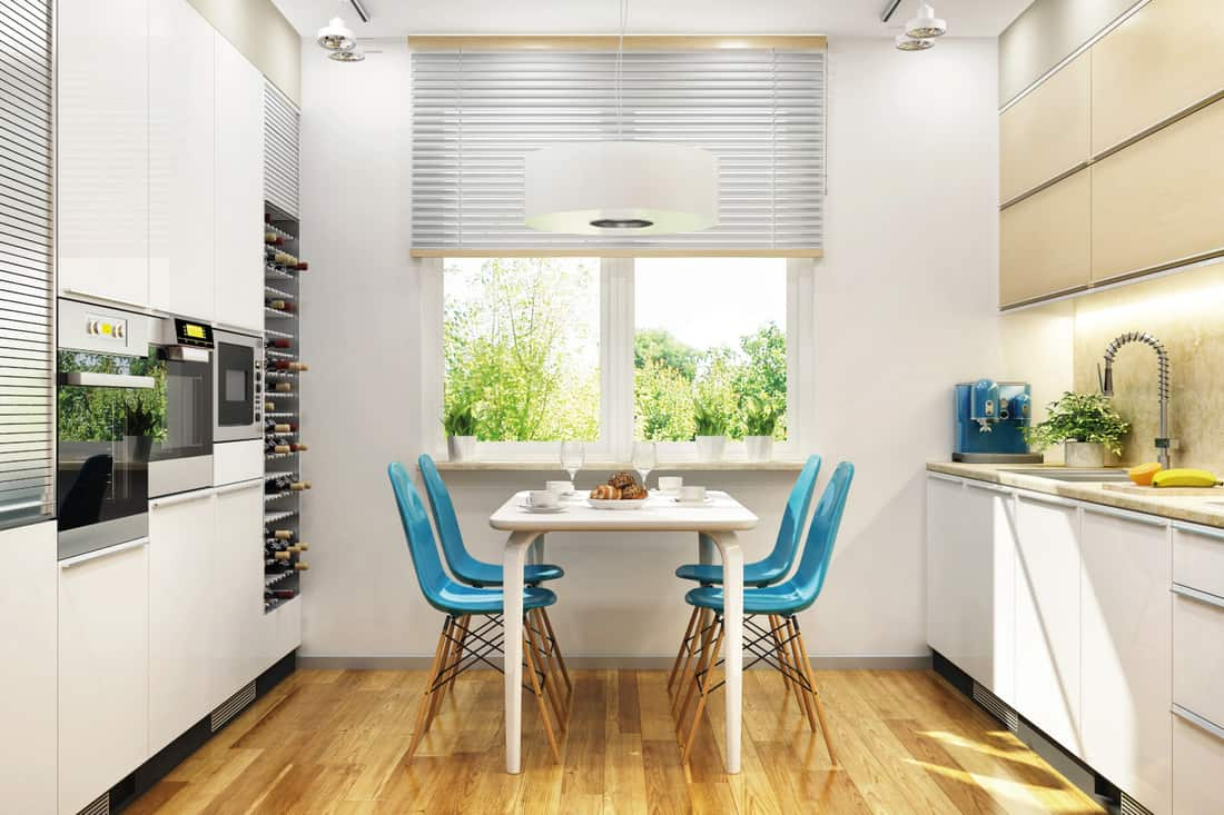 modern white kitchen with Pull-Down Blinds