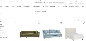 One Kings Lane website couch product page