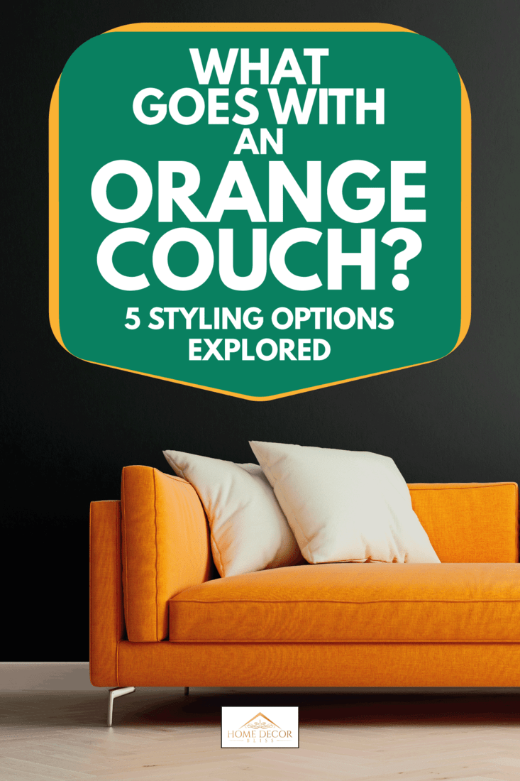 orange sofa in modern interior background, living room. What Goes with an Orange Couch [5 Styling Options Explored]
