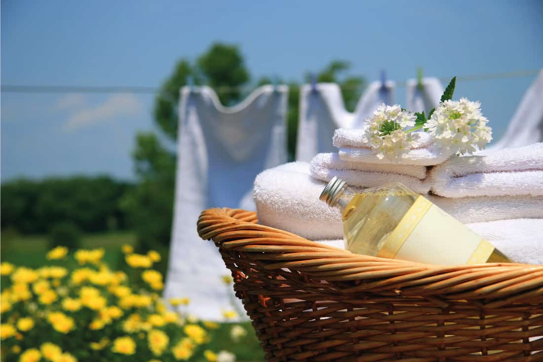Outdoor photo of Clean towels freshly folded in a basket