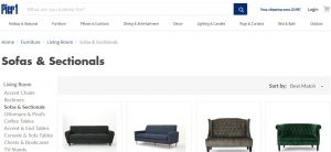 Pier 1 Imports website couch product page