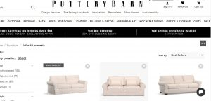 Pottery Barn website couch product page