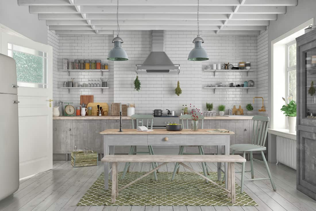 Scandinavian flat with a kitchen in dine-in country kitchen design, wooden dining table, chairs and a bench