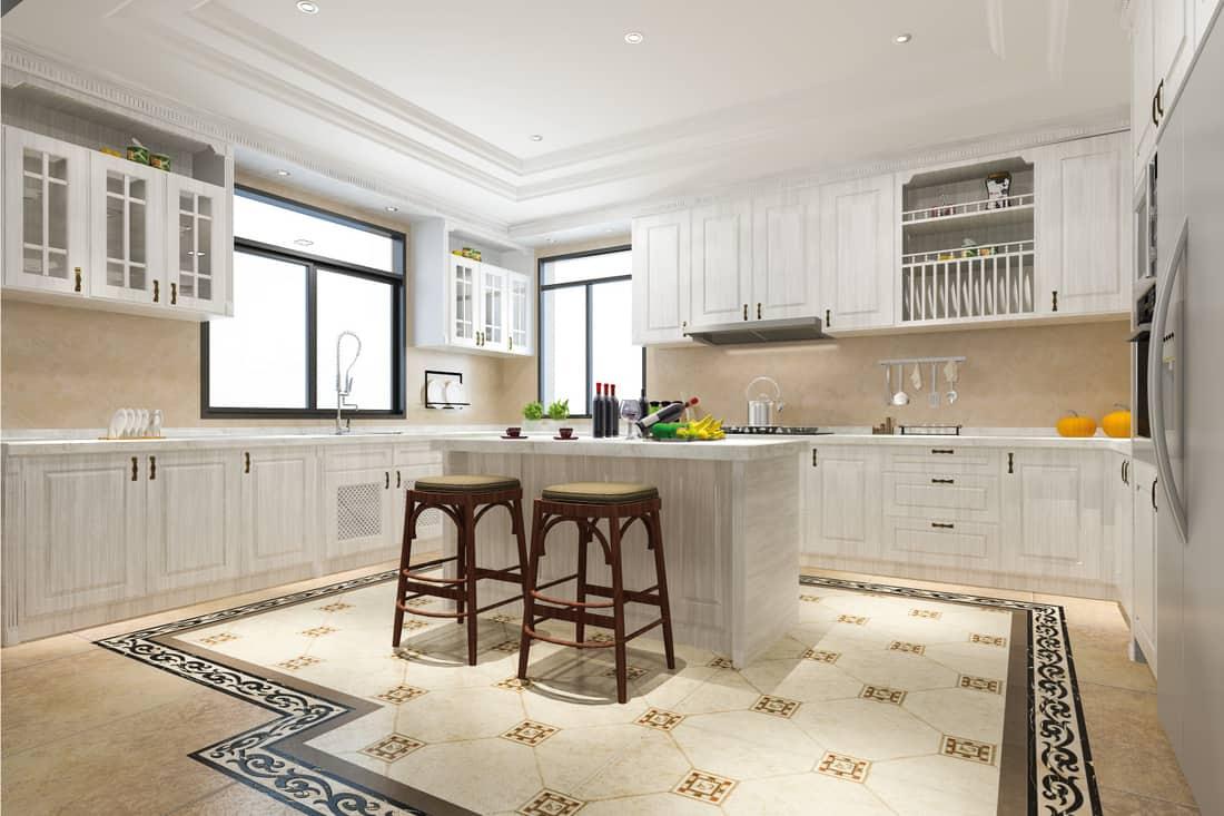 Scandinavian vintage modern kitchen with dining area