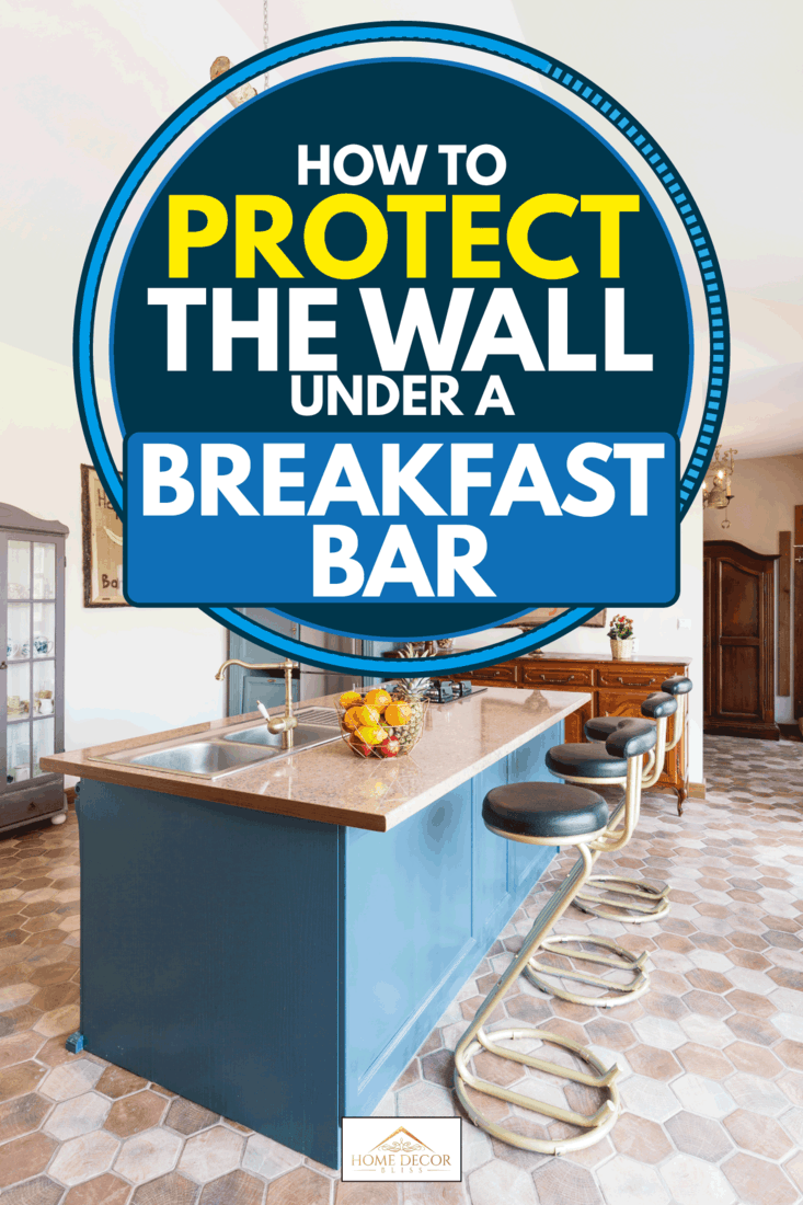 Vintage furniture including old fashioned bar chairs and breakfast bar, How To Protect The Wall Under A Breakfast Bar
