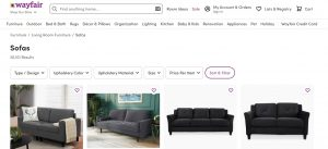 Wayfair website couch product page