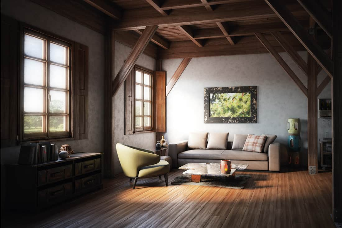 Warm and cozy rustic living room interior with high quality models of stylish furniture