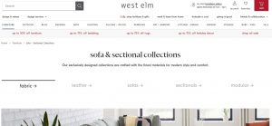 West Elm website couch product page