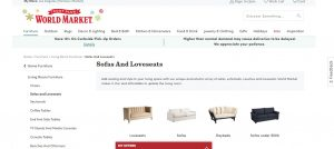 World Market website couch product page