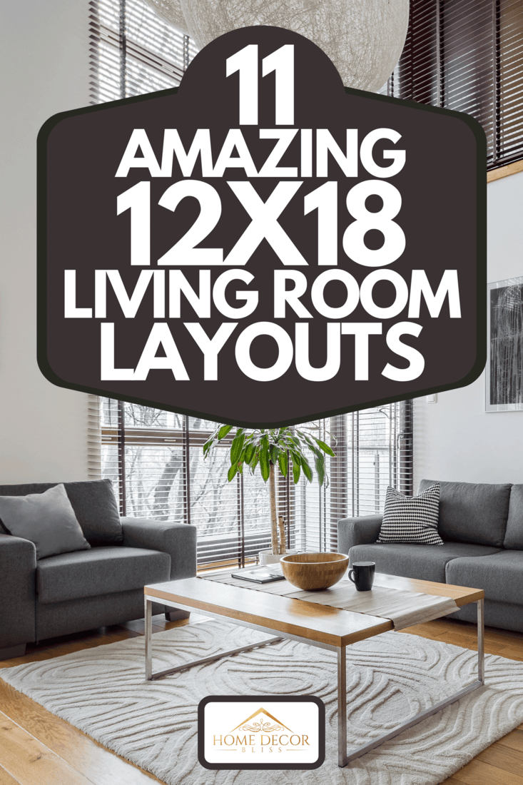 A living room with sofa set, big windows, blinds and hardwood floor, 11 Amazing 12X18 Living Room Layouts