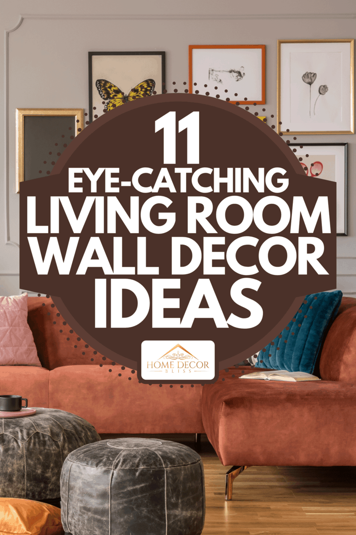 Vintage black poufs in trendy eclectic living room interior with brown couch, 11 Eye-Catching Living Room Wall Decor Ideas