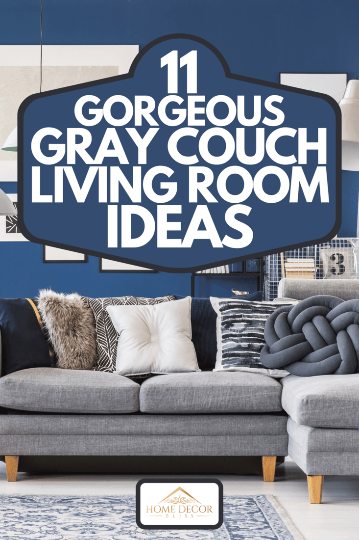 Designer metal tables near gray corner couch in spacious living room with gallery on blue wall, 11 Gorgeous Gray Couch Living Room Ideas
