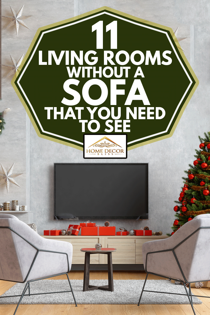 Smart Tv Mockup With Blank Screen In Modern Living Room With Armchairs, Christmas Tree And Gift Boxes, 11 Living Rooms Without A Sofa That You Need To See