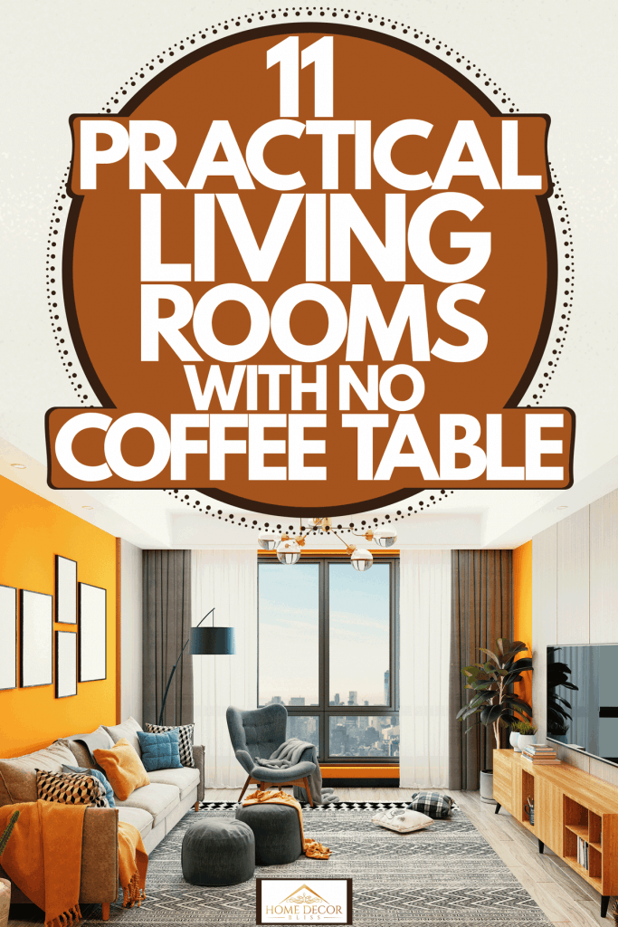 Interior of a luxurious modern contemporary living room with bright orange colored walls, drapes, and throw pillows, 11 Practical Living Rooms With No Coffee Table
