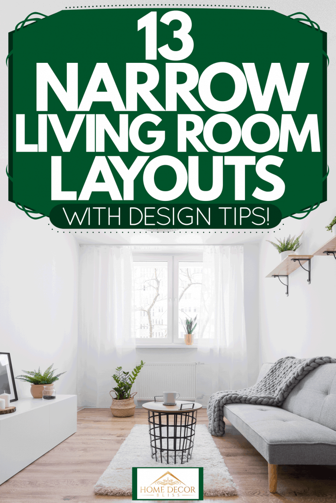Contemporary living room with gray couch and Scandinavian coffee table, 13 Narrow Living Room Layouts - With Design Tips!