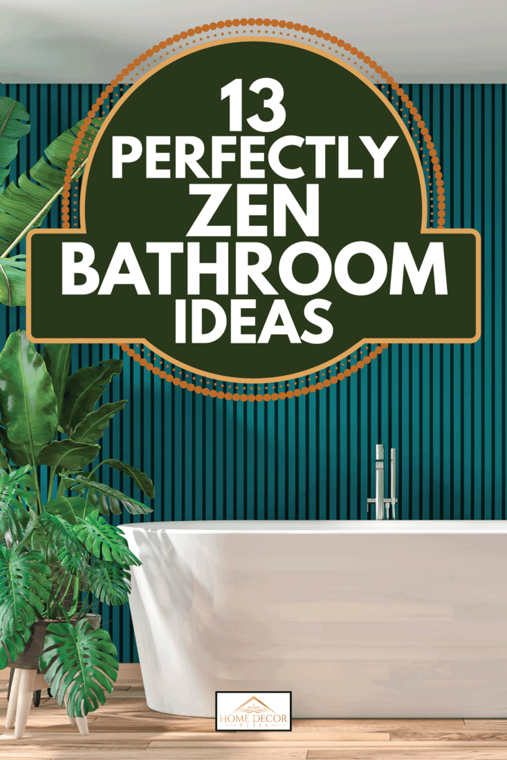 modern bathroom with hardwood parquet floor and green wooden paneled wall, free standing bathtub, potted plants on the side. 13 Perfectly Zen Bathroom Ideas