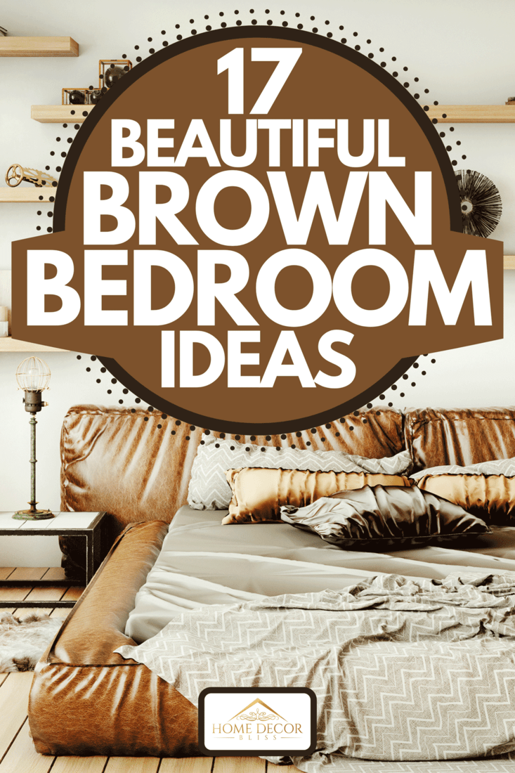 Warm and cozy home bedroom interior with brown leather bed and hardwood floor, 17 Beautiful Brown Bedroom Ideas