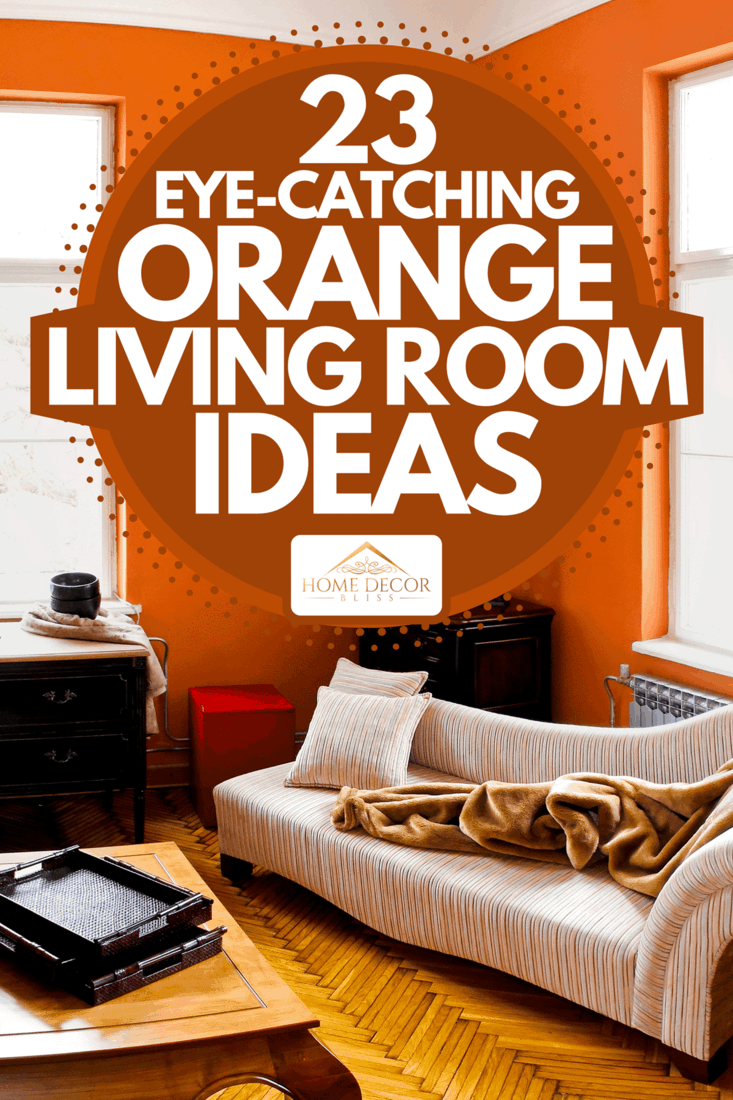 Orange room living room with parquet floor, sofa and wooden coffee table, 23 Eye-Catching Orange Living Room Ideas