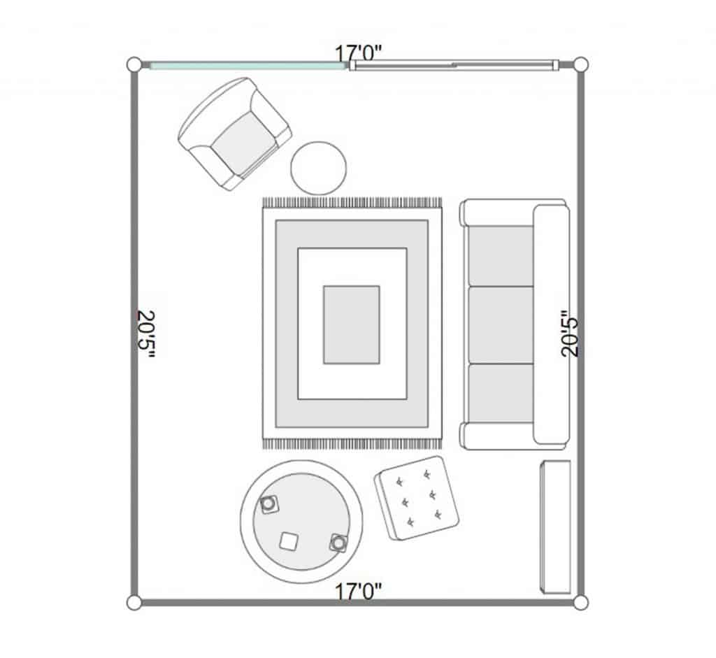 2D floorplan of a minimalistic living room interior with sofa and carpet rug
