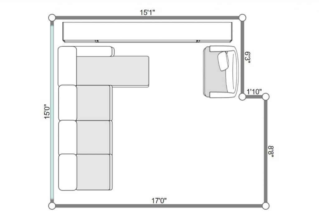 2D floorplan of a modern interior living room with sofa set and brick walls