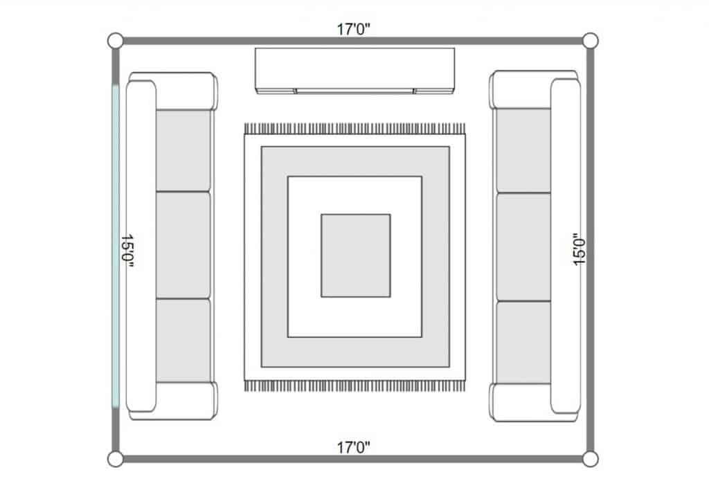 2D floorplan of a modern interior of living room with two sofas and carpet on parquet floor