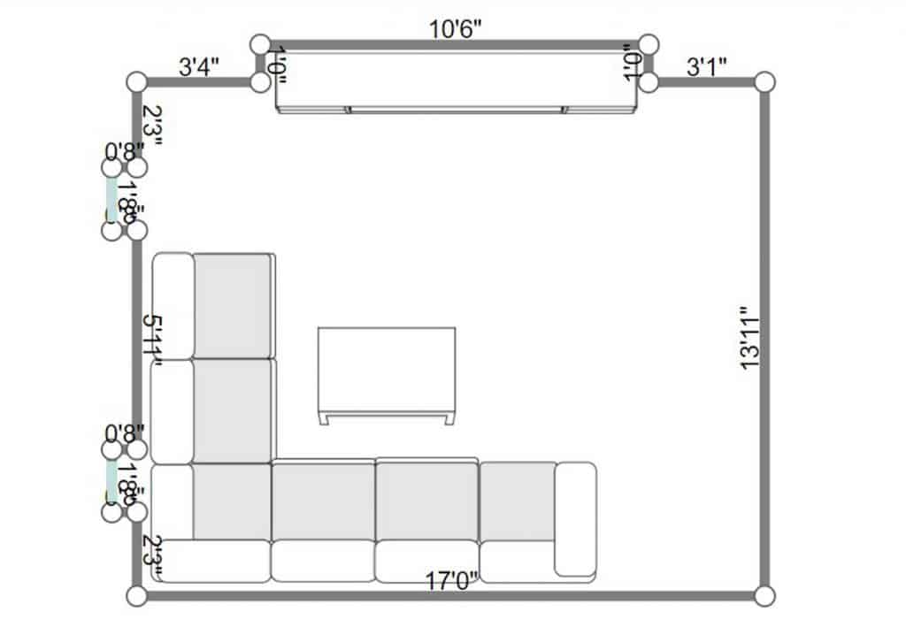 2D floorplan of a modern living room interior with corner sofa, coffee table and TV