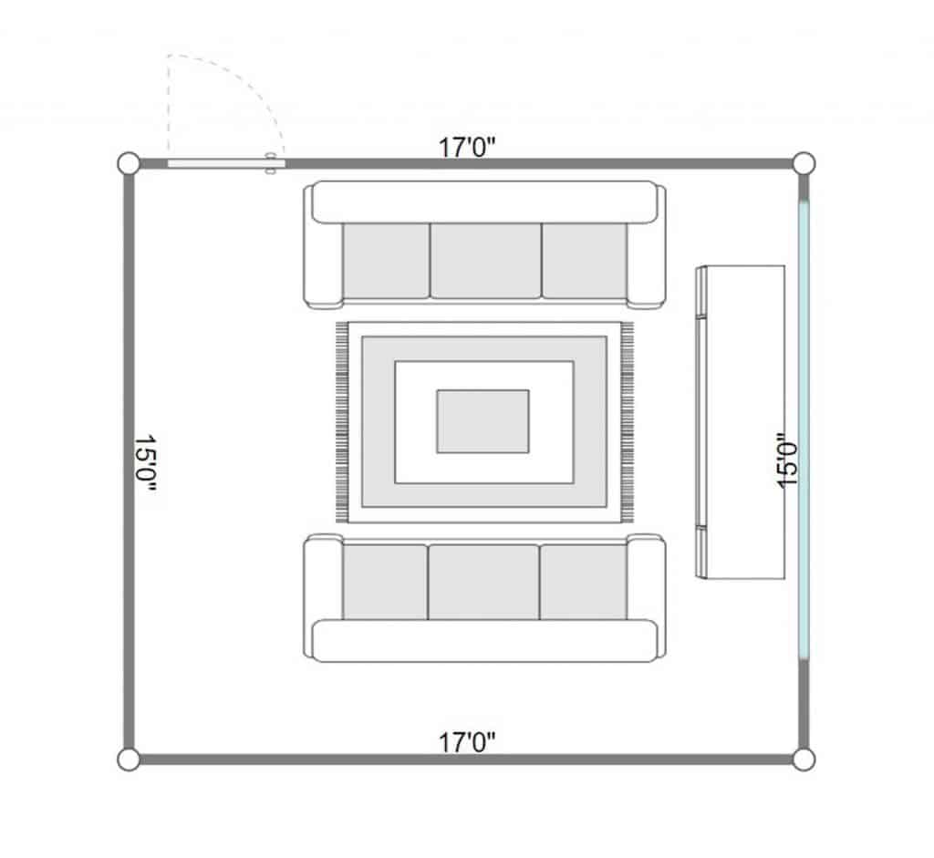 2D floorplan of a modern living room with parquet floor, sofa and mirror on wall