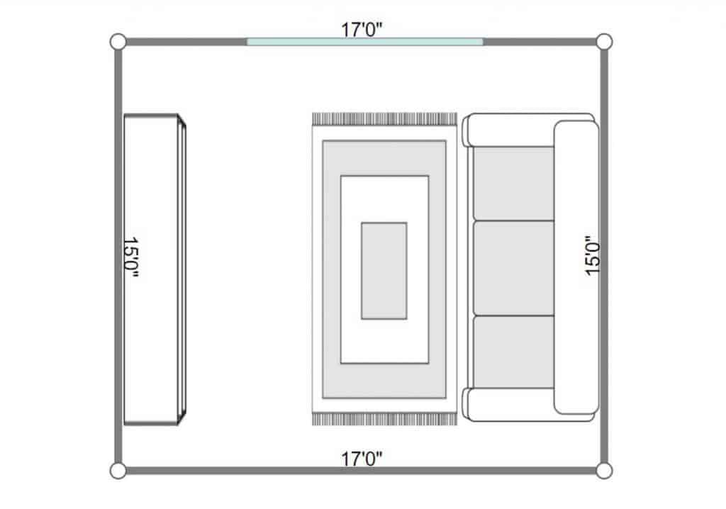 2D floorplan of a narrow and stylish living room with furniture and decoration in Scandinavian style