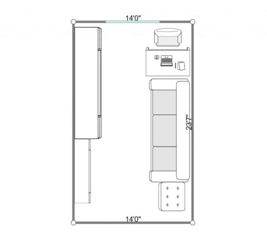 2D floorplan of a small modern living room interior of a condominium