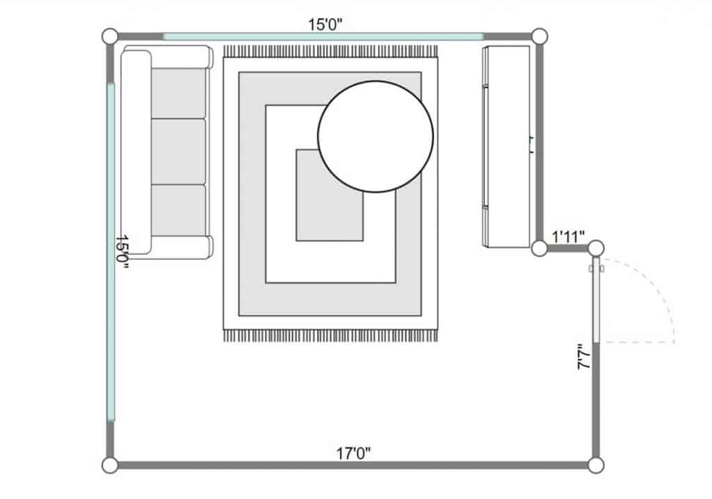 2D floorplan of a small modern living room with coffee table on green carpet rug, white leather sofa, parquet floor and view of the bedroom