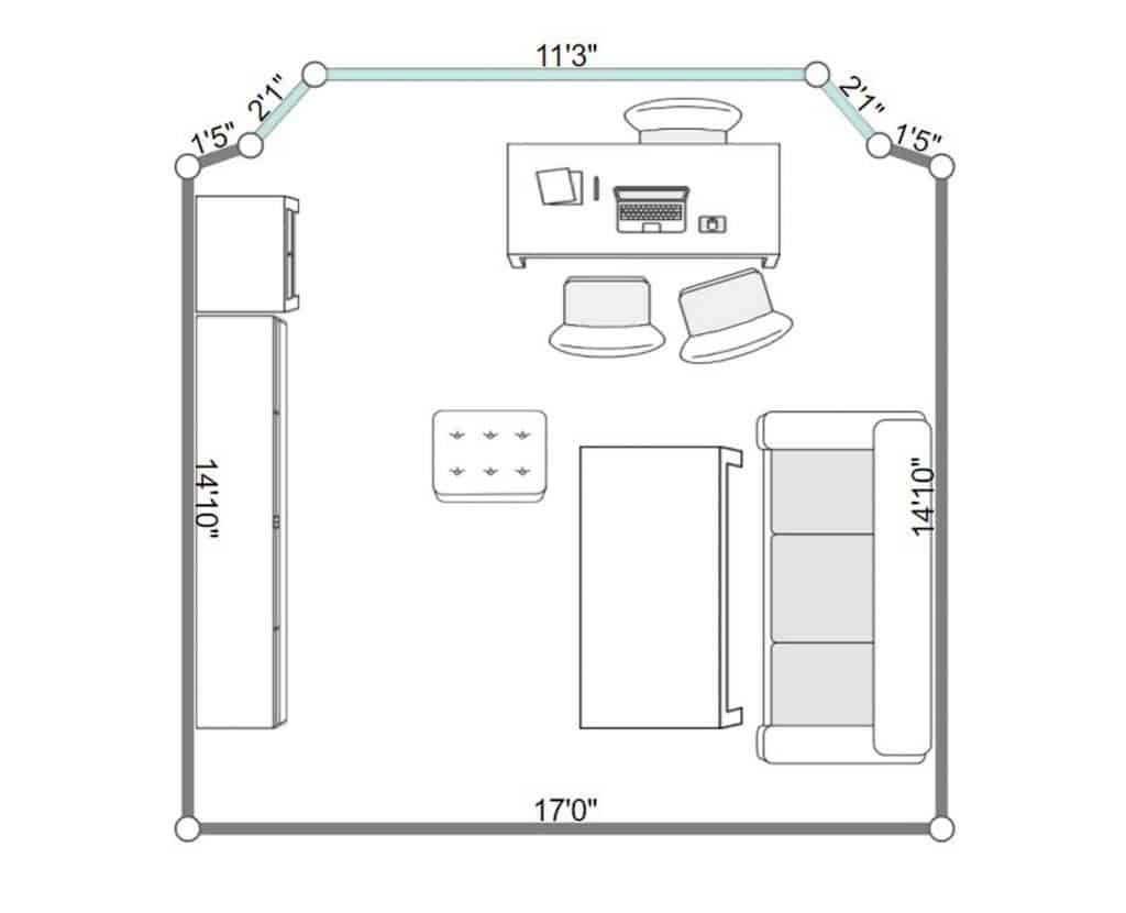 2D floorplan of an apartment living room interior with parquet floor, sofa and study table and chairs