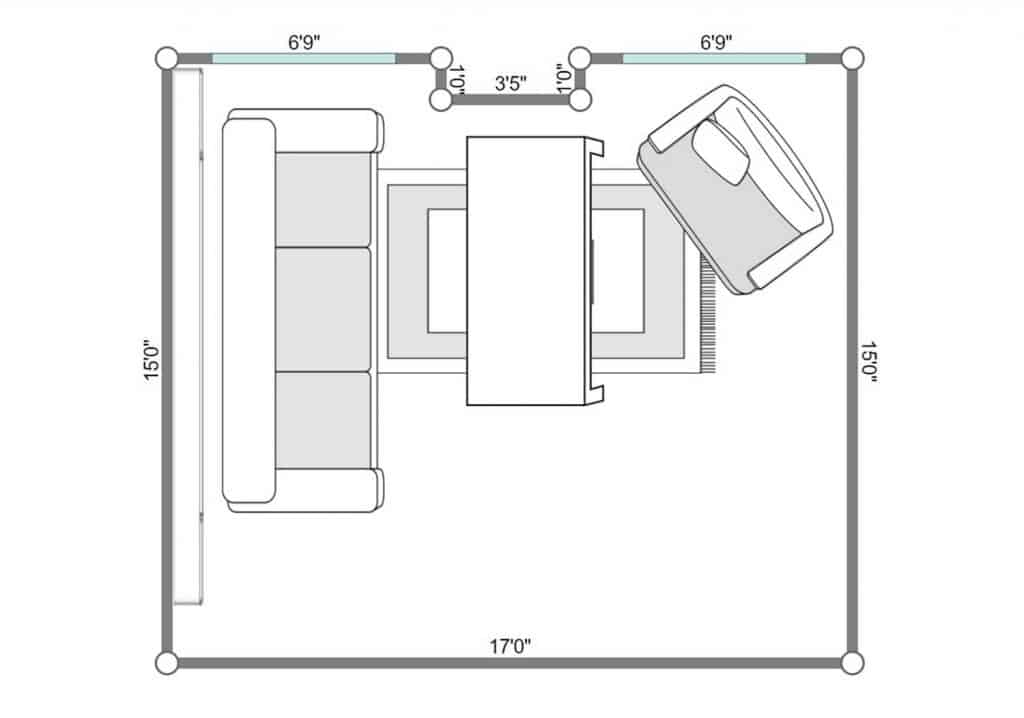 2D floorplan of living room with green wall sofa and table on red carpet rug