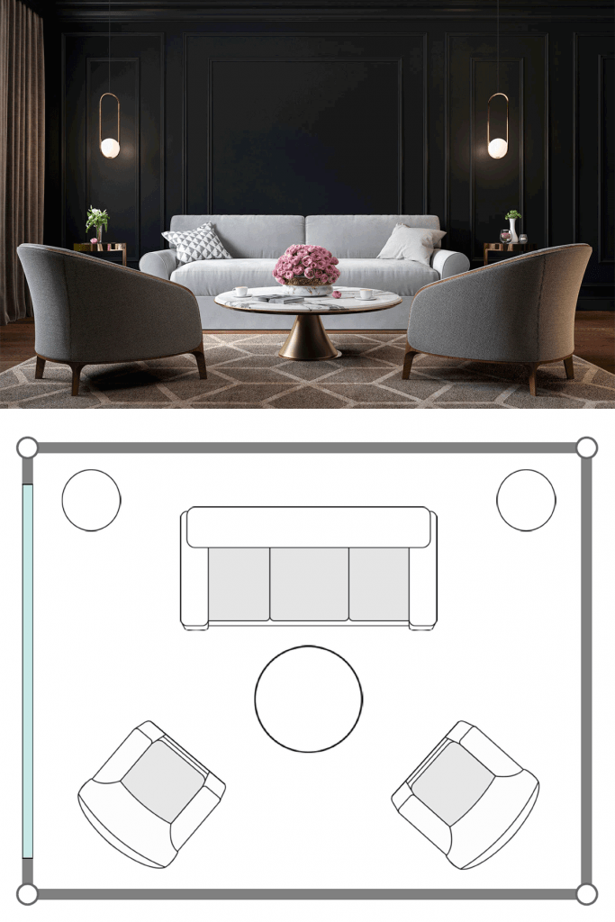 A dark inspired living room with a dark wall, a two seater center sofa, round center coffee table, and two small gray chairs