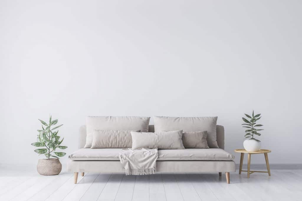 A small armless gray sofa with gray throw pillows and indoor plant on each side