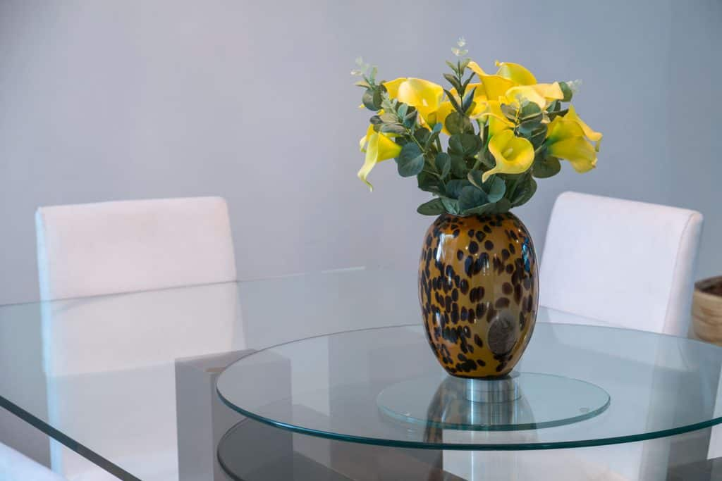A small indoor plant placed on a glass dining table