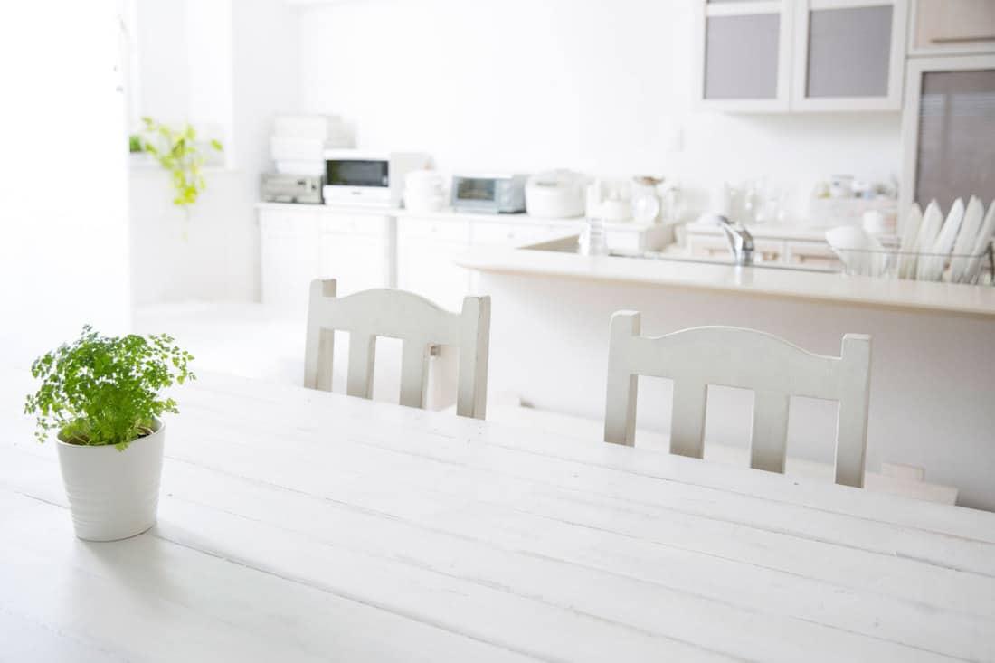 A white kitchen background