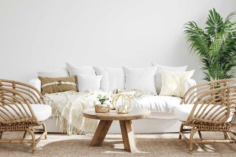 A white cozy living room interior in coastal boho style, 23 Rustic Farmhouse Living Room Ideas